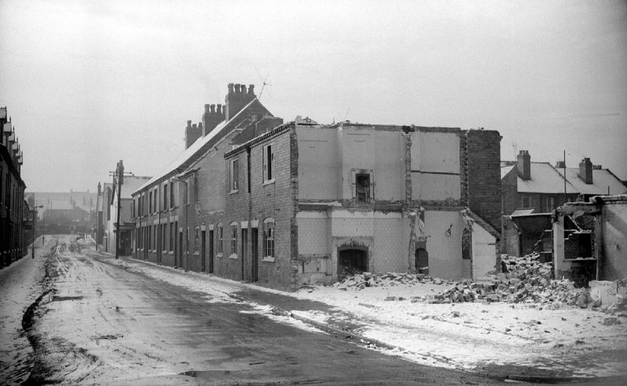 View of the demolition of the houses in Windsor Street.  Picture taken from Dugdale Street looking towards Edward Street.  1963 |  IMAGE LOCATION: (Warwickshire County Record Office)