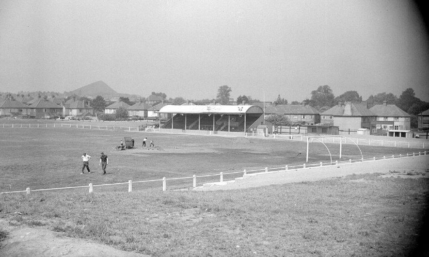 Nuneaton Borough Football Club's ground at Manor Park.  1963 |  IMAGE LOCATION: (Warwickshire County Record Office)