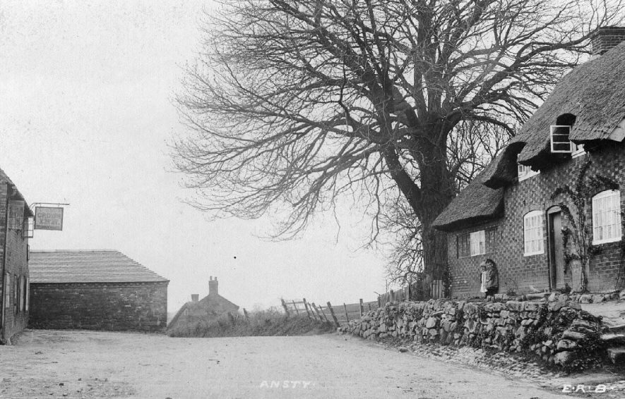 Street with thatched cottage and public house, showing children standing in front of a cottage, Ansty.  1900s |  IMAGE LOCATION: (Warwickshire County Record Office)