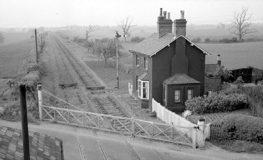 View from Willey railway crossing, with Joe Pratt's house in the foreground.  May 27th 1964 |  IMAGE LOCATION: (Warwickshire County Record Office)