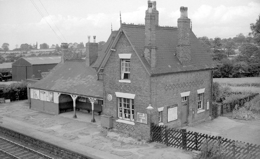 Shustoke railway station on the Nuneaton to Birmingham line.  September 27th 1964 |  IMAGE LOCATION: (Warwickshire County Record Office)