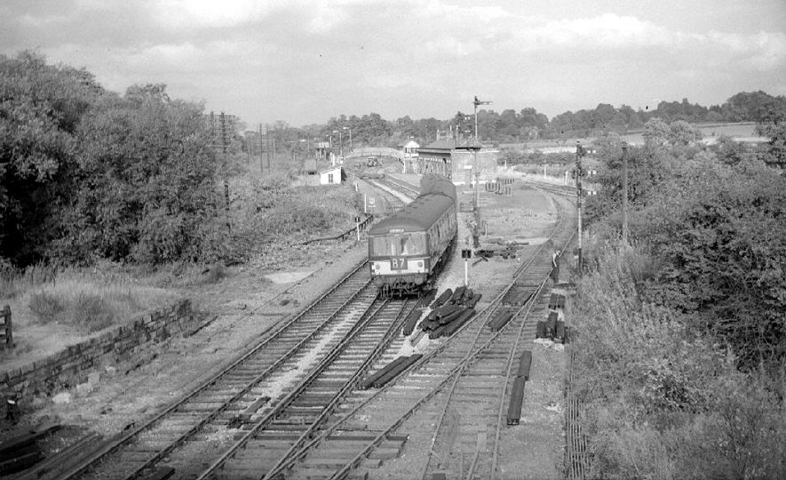 A multiple diesel unit from Nuneaton passes through Nether Whitacre station.  September 27th 1964 |  IMAGE LOCATION: (Warwickshire County Record Office)