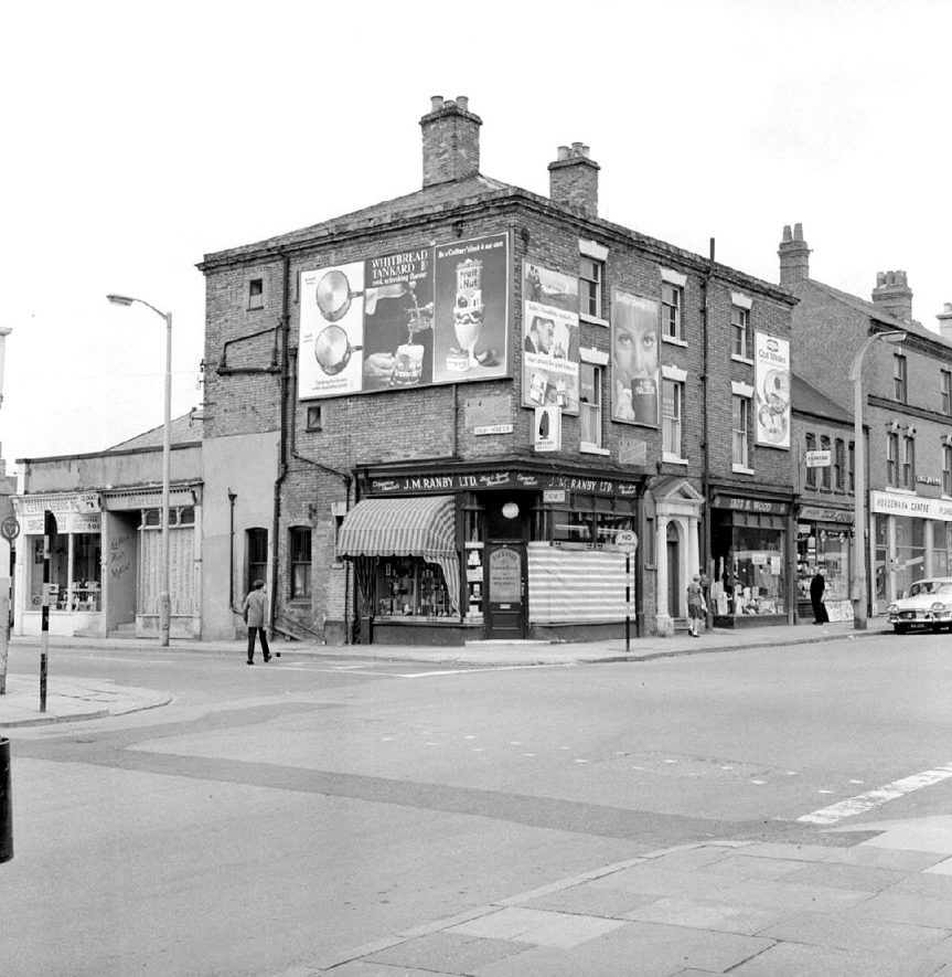 Ranby's Chemist's Shop on corner of High Street and Abbey Street, Nuneaton.  July 10th 1966 |  IMAGE LOCATION: (Warwickshire County Record Office)