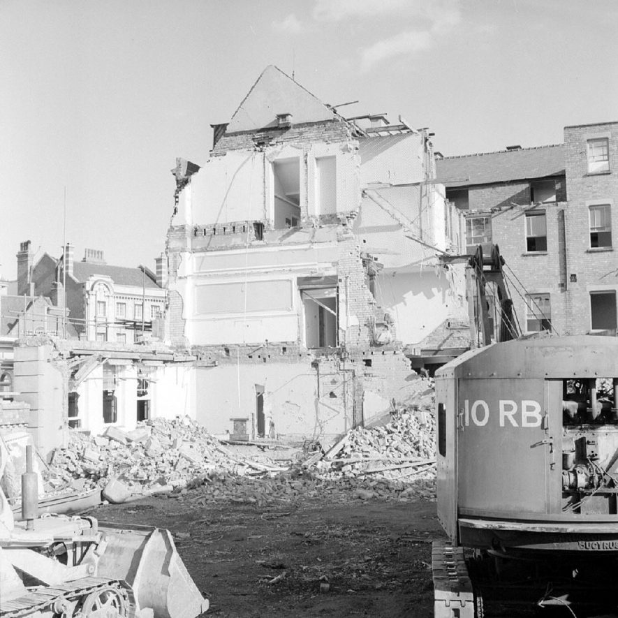 Demolition of Newdegate Arms Hotel, Newdegate Square, seen from hotel yard at side of Harefield Road, Nuneaton.  July 24th 1966 |  IMAGE LOCATION: (Warwickshire County Record Office)
