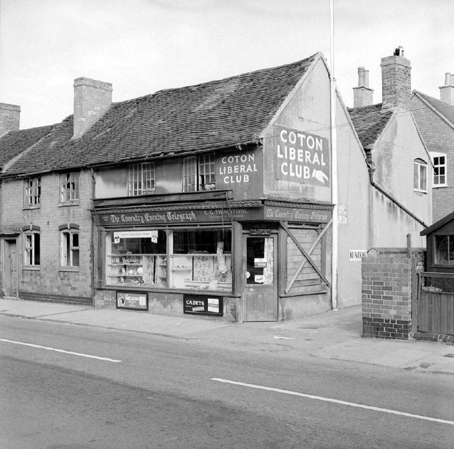 Newspaper shop in Bridge Street near Coton Arches, Chilvers Coton.  September 10th 1966 |  IMAGE LOCATION: (Warwickshire County Record Office)
