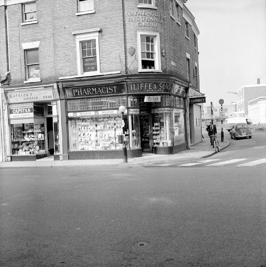 Iliffe's chemist's shop in Market Place, Nuneaton.  September 26th 1966 |  IMAGE LOCATION: (Warwickshire County Record Office)