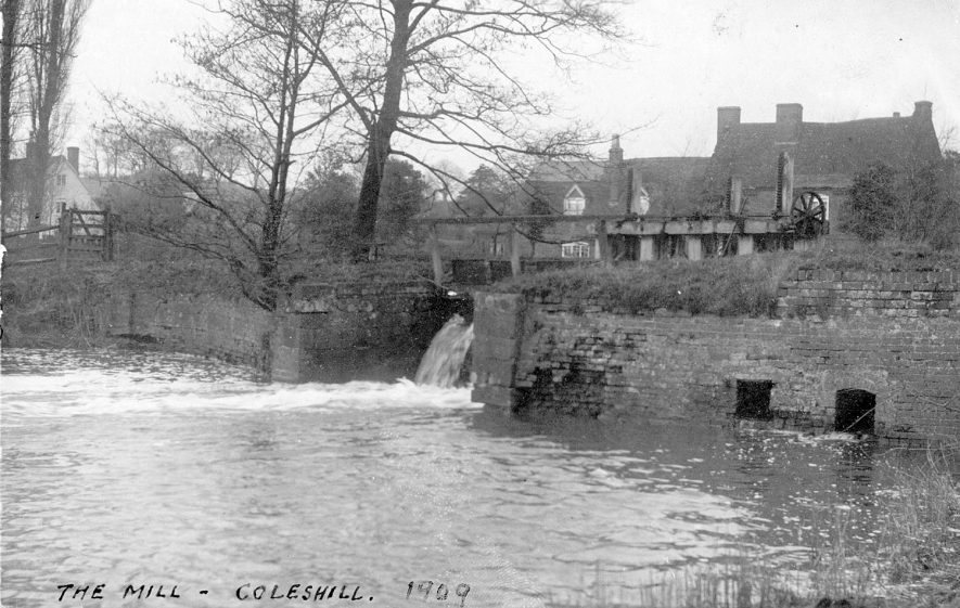 Coleshill water mill from downstream.  1909 |  IMAGE LOCATION: (Warwickshire County Record Office)