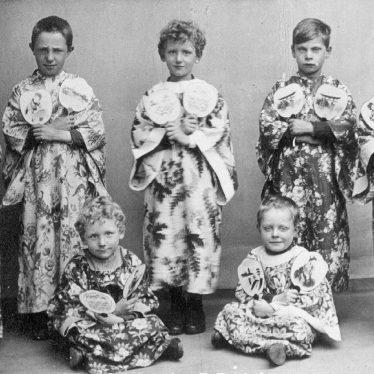 "Coleshill.  Children dressed in ""Japanese"" costumes"