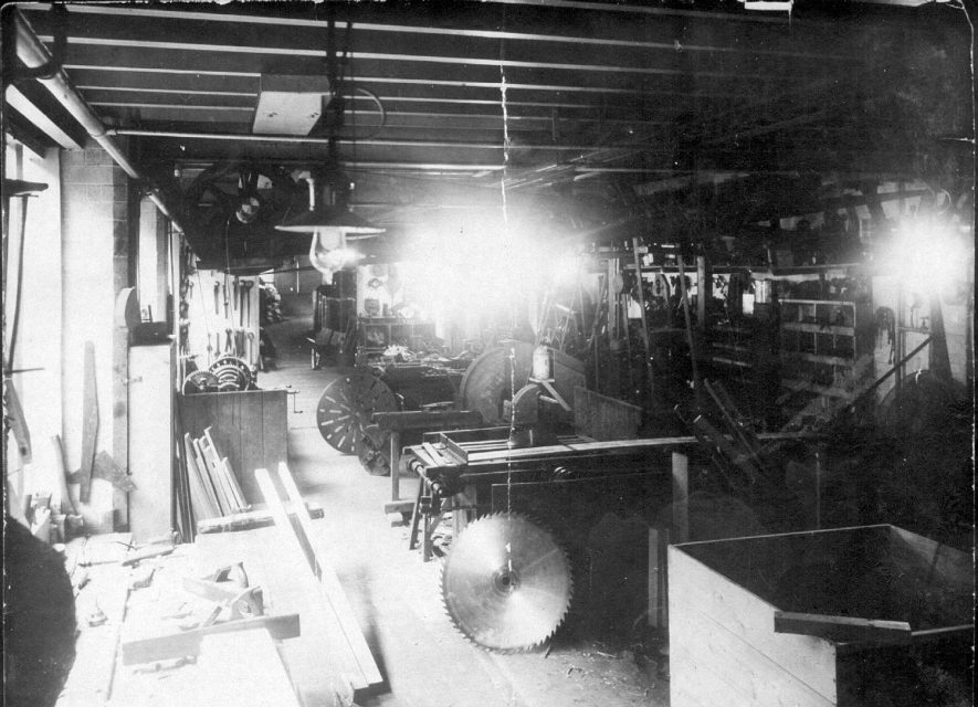 Probable machine room in Luckman & Pickering's Leicester Street hat factory, Bedworth.  1900s |  IMAGE LOCATION: (Warwickshire County Record Office)