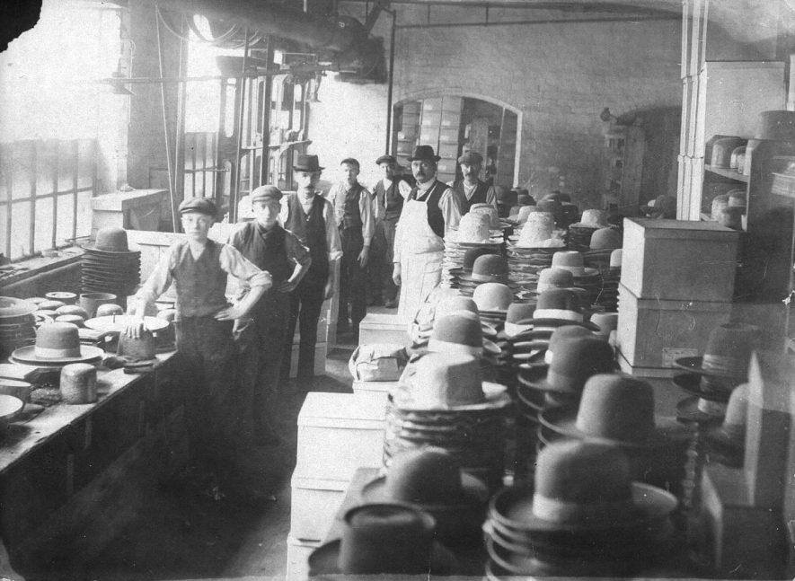 Group of men working in Luckman & Pickering's Leicester Street hat factory, Bedworth.  1900s |  IMAGE LOCATION: (Warwickshire County Record Office)