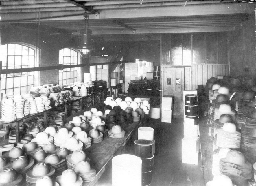 Interior of hat making workshop at Luckman & Pickering's factory in Bedworth.  1900s |  IMAGE LOCATION: (Warwickshire County Record Office)
