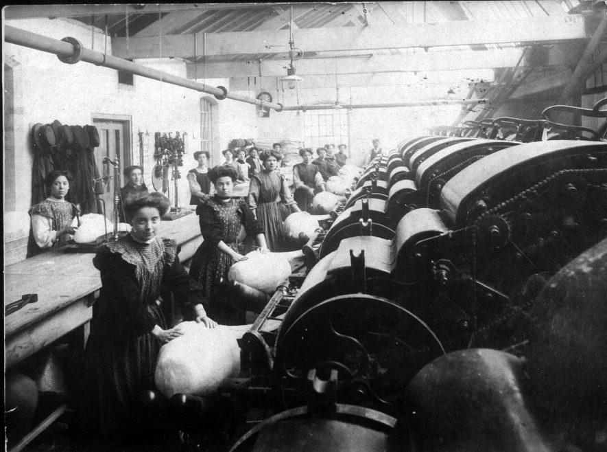 Lady workers at their machines at Luckman & Pickering's hat factory in Bedworth.  1900s |  IMAGE LOCATION: (Warwickshire County Record Office)