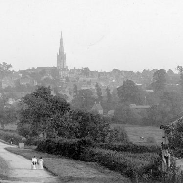 Coleshill.  View of town from Grimscote Hill