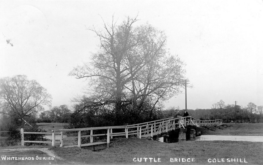 Footbridge over the river at Coleshill.  1920s |  IMAGE LOCATION: (Warwickshire County Record Office)