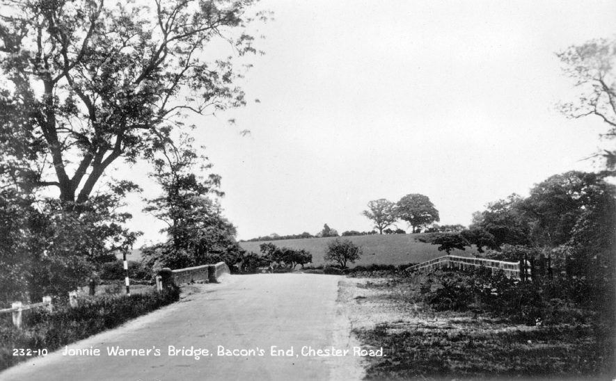 Jonnie Warner's Bridge,  Bacon's End,  on the Chester Road.  1920s |  IMAGE LOCATION: (Warwickshire County Record Office)