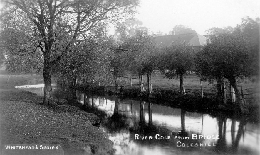 River Cole from the bridge at Coleshill.  1910s |  IMAGE LOCATION: (Warwickshire County Record Office)
