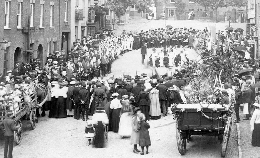 Carnival and maypole dancing at Church Hill.  The Stocks are on the left.  1908 |  IMAGE LOCATION: (Warwickshire County Record Office)