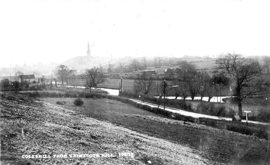 View from Grimscote Hill, Coleshill. Church steeple on the horizon.  1910s |  IMAGE LOCATION: (Warwickshire County Record Office)