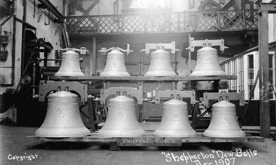 Eight church bells which had been re-cast from three for Chilvers Coton church in 1908. These are known as the