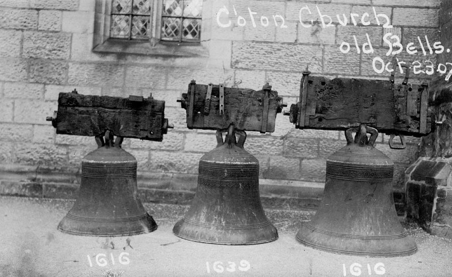 Three old bells from Chilvers Coton church which were then re-cast into eight bells.  October 23rd 1907 |  IMAGE LOCATION: (Warwickshire County Record Office)