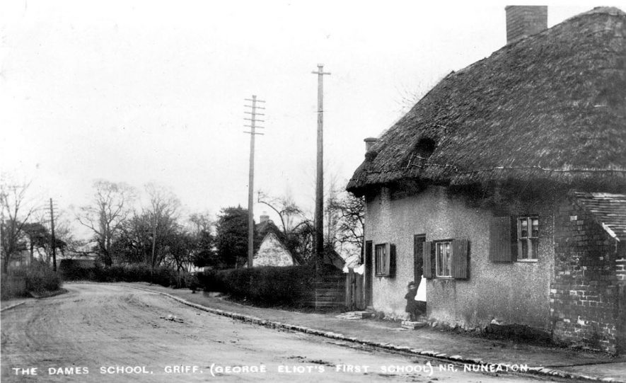 A roadside cottage opposite to the gates of Griff where Mrs Moore kept a dame's school. This was George Eliot's first school.  1900s |  IMAGE LOCATION: (Warwickshire County Record Office)