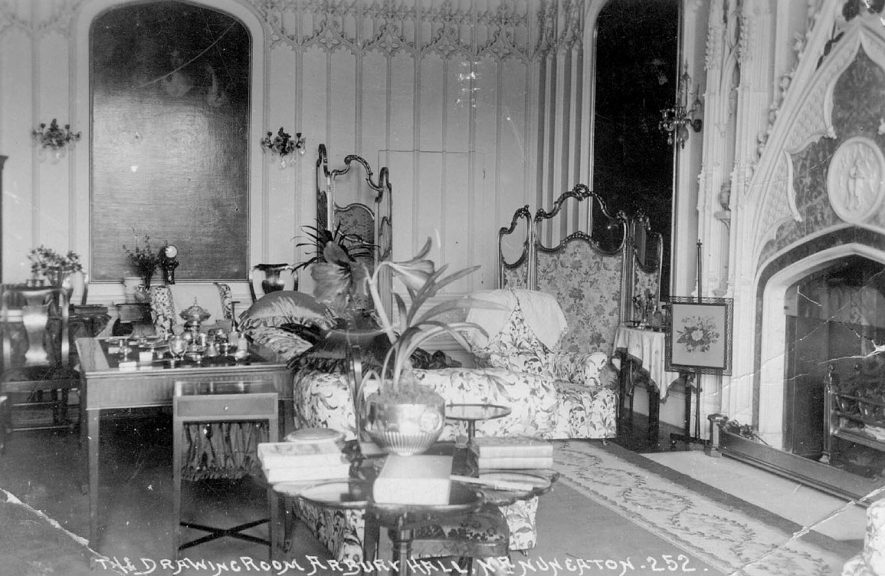 The drawing room at Arbury Hall, Nuneaton.  1900s |  IMAGE LOCATION: (Warwickshire County Record Office)