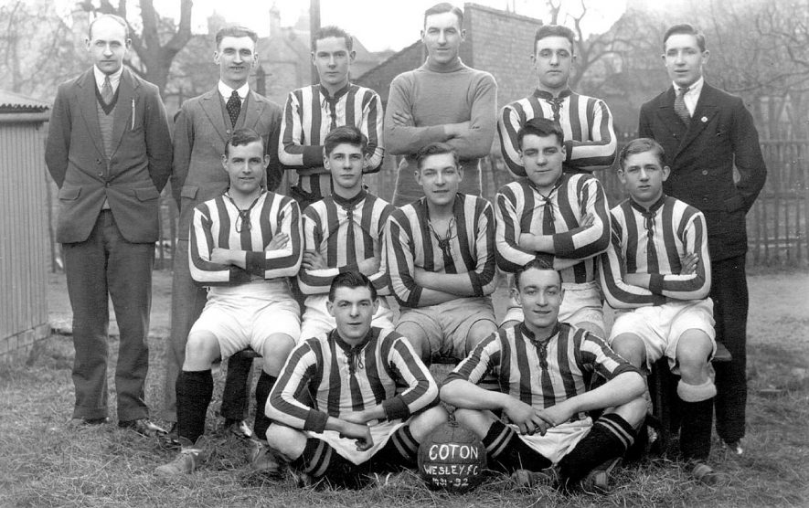 Team portrait of Wesley Football Club, Chilvers Coton.  1930s |  IMAGE LOCATION: (Warwickshire County Record Office)