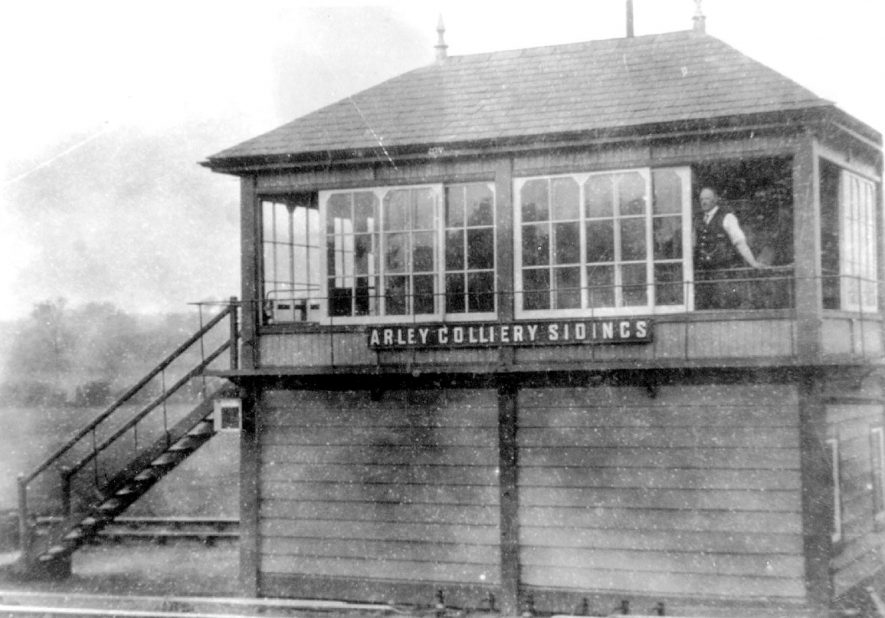 The signal box on the railway, at Arley colliery sidings.  1920s |  IMAGE LOCATION: (Warwickshire Museums. Photographic Collections.)