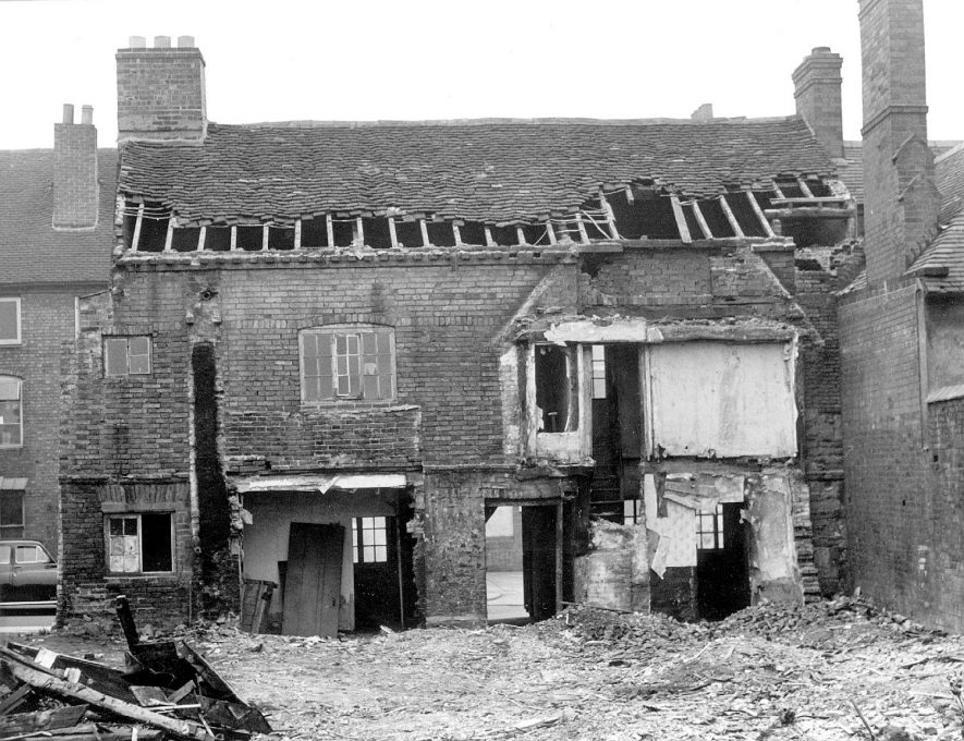 Partially demolished house in Long Street, Atherstone, the site of a hoard of coins dating from the Civil War.  1975    IMAGE LOCATION: (Warwickshire Museums. Photographic Collections.)