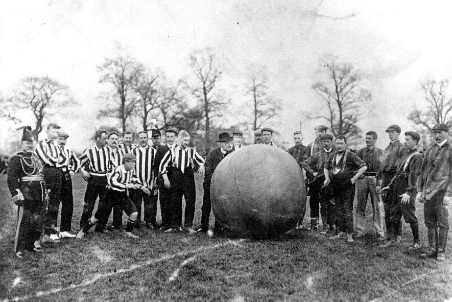 Atherstone carnival 1905.  Annual ball game. Bakers v Publicans.  Push off by Mr A Sale. |  IMAGE LOCATION: (Warwickshire Museums. Photographic Collections.) PEOPLE IN PHOTO: Sale, A