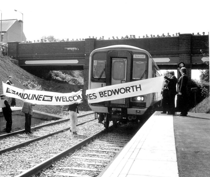 Bedworth station.  Arrival of first train after restarting railway service.  May 1988    IMAGE LOCATION: (Warwickshire Museums. Photographic Collections.)
