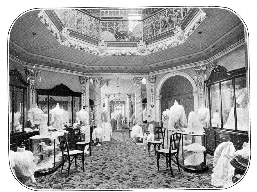Photograph of the Octagonal Blouse Salon in Bobby's Shop in the Parade.  This picture comes from an advertisement placed in the Official Register of the Corporation, and states ' The fashion of the moment in everything appertaining to Ladies'  Attire,  the latest phase in millinery,  specialists in Costumes and Tailor Built Gowns,  and Rich Furs'.  1905 |  IMAGE LOCATION: (Warwickshire County Record Office)