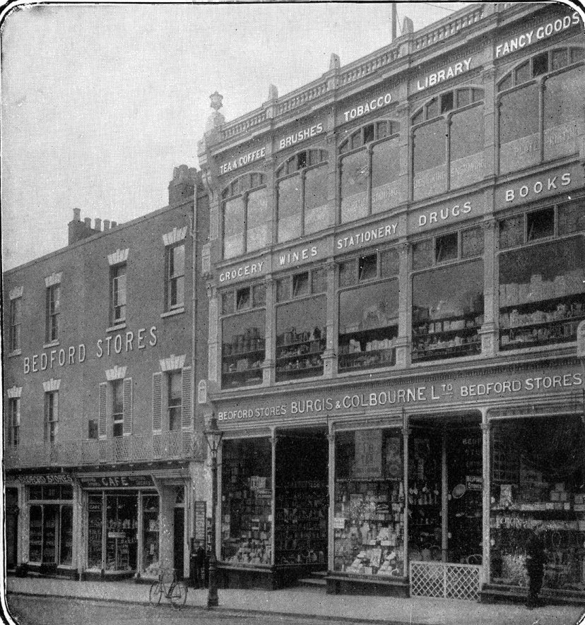 The shop frontage of Burgis and Colbourne on the Parade which was much praised for its lightness and elegance, being constructed principally of iron and glass and 'one of the greatest ornaments to the Parade'.  1905 |  IMAGE LOCATION: (Warwickshire County Record Office)