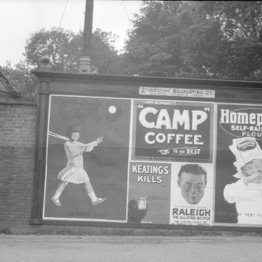 Atherstone.  Grendon Terrace, advertising hoarding in