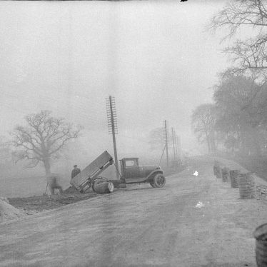 Curdworth.  Lorry and workmen
