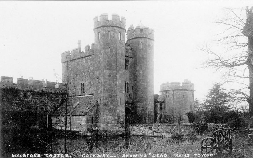 Maxstoke Castle gateway and Dead Mans Tower.  1920s |  IMAGE LOCATION: (Warwickshire County Record Office)