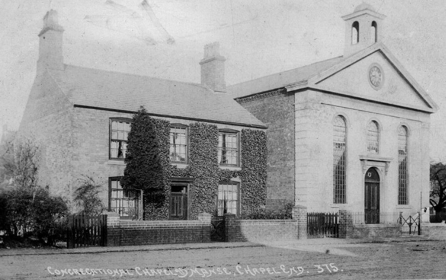 Congregational chapel and manse, Chapel End, Nuneaton.  1900s |  IMAGE LOCATION: (Warwickshire County Record Office)