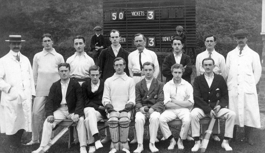 Nuneaton Post Office cricket team at their cricket ground at Weddington.  1912 |  IMAGE LOCATION: (Warwickshire County Record Office)