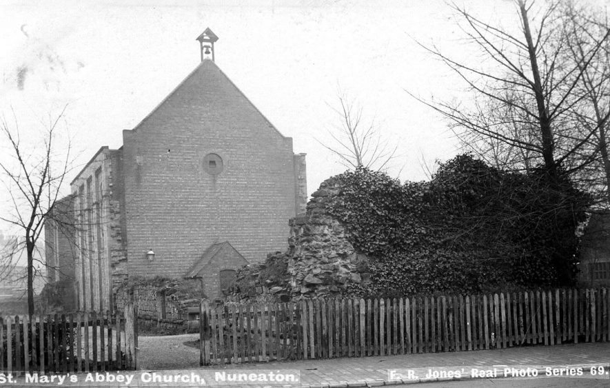 West end view of St Mary's Abbey Church, showing ruins of abbey, Nuneaton.  1900s |  IMAGE LOCATION: (Warwickshire County Record Office)