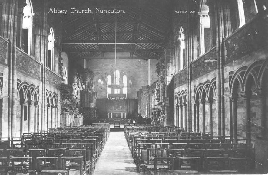 Interior of Abbey Church, Nuneaton.  1900s |  IMAGE LOCATION: (Warwickshire County Record Office)