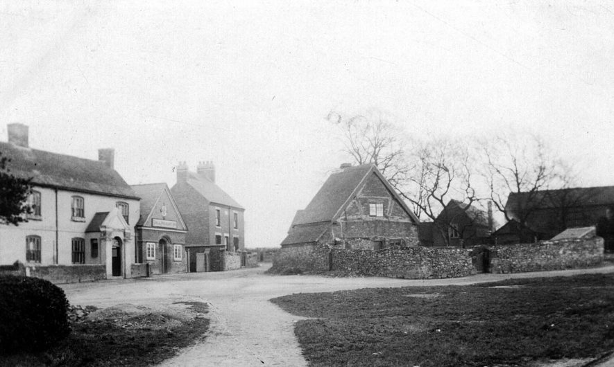 Hartshill Green, with Michael Drayton's house and the Stag & Pheasant public house.  1900s |  IMAGE LOCATION: (Warwickshire County Record Office) PEOPLE IN PHOTO: Drayton, Michael