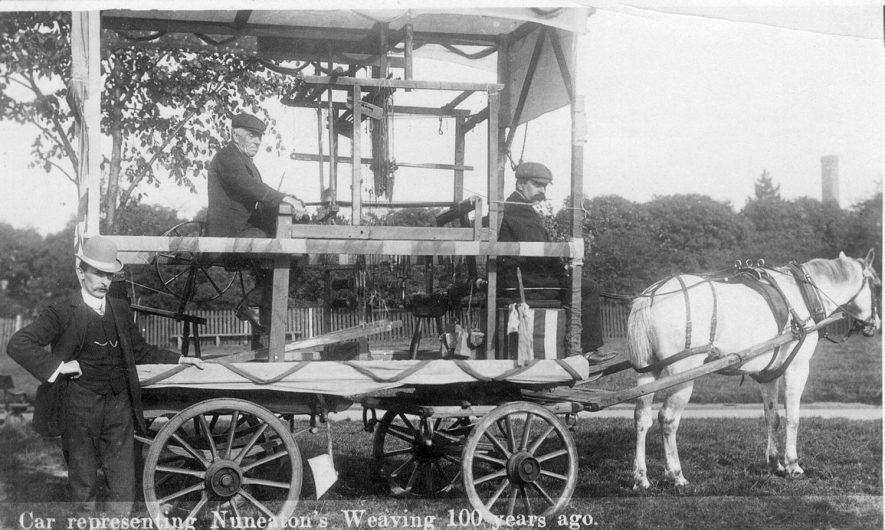 An old single narrow hand loom mounted on a cart presumably as a show in a procession of some sort.  It was used for making ribbons and tapes by miners wives in their homes.  It is at least a century old.  Nuneaton.  1907 |  IMAGE LOCATION: (Warwickshire County Record Office)