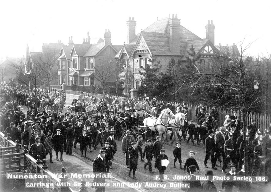 Arrival of Gen. Sir Redvers and Lady Audrey Buller for the unveiling of the Boer War Memorial, Nuneaton.  1903 |  IMAGE LOCATION: (Warwickshire County Record Office) PEOPLE IN PHOTO: Buller, General