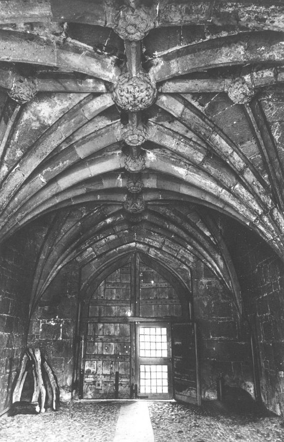 Interior of the gate tower of Maxstoke Castle.  1930s |  IMAGE LOCATION: (Warwickshire County Record Office)