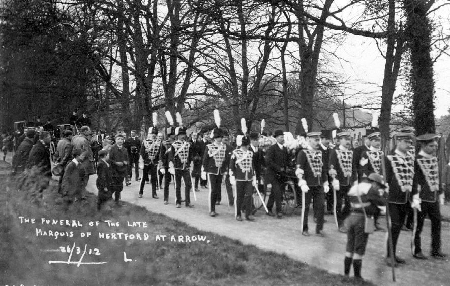 Funeral of Marquis of Hertford at Ragley Hall, showing soldiers, boy scouts and onlookers.  26th March 1912 |  IMAGE LOCATION: (Warwickshire County Record Office)