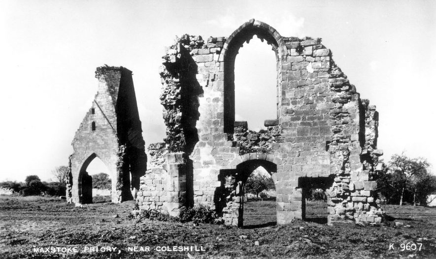 Ruins of the Priory, Maxstoke.  1950s |  IMAGE LOCATION: (Warwickshire County Record Office)