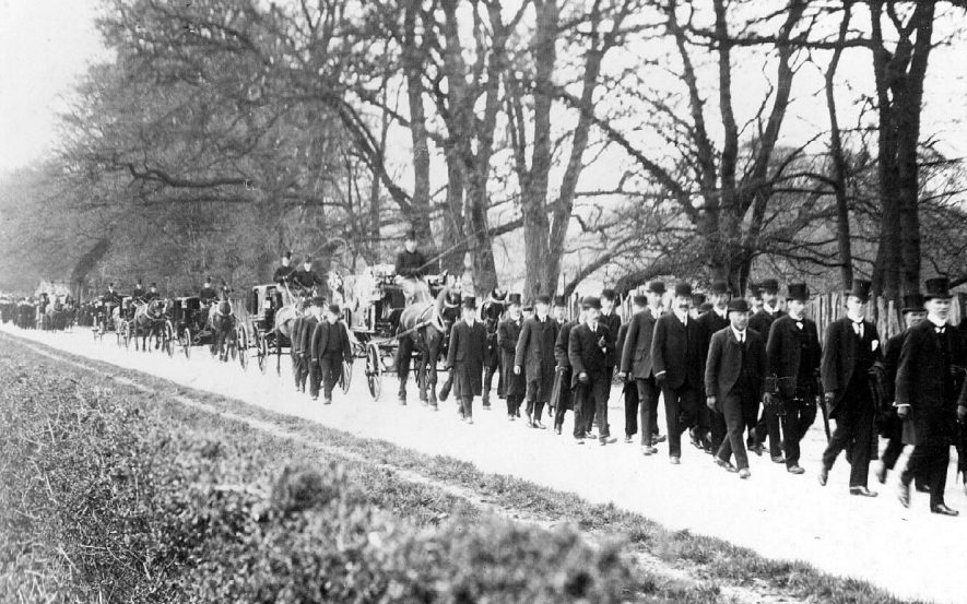 Funeral procession of the late Marquis of Hertford through Ragley Park on the 26th March 1912. |  IMAGE LOCATION: (Warwickshire County Record Office)