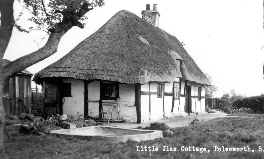 Thatched and timbered house known as Little Jim's Cottage, Polesworth.  1950s    IMAGE LOCATION: (Warwickshire County Record Office)