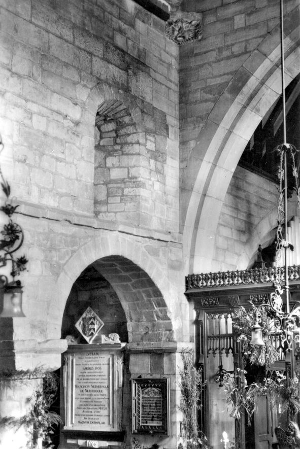 The Nethersole Memorial in St Editha's Parish Church, Polesworth.  1920s    IMAGE LOCATION: (Warwickshire County Record Office)