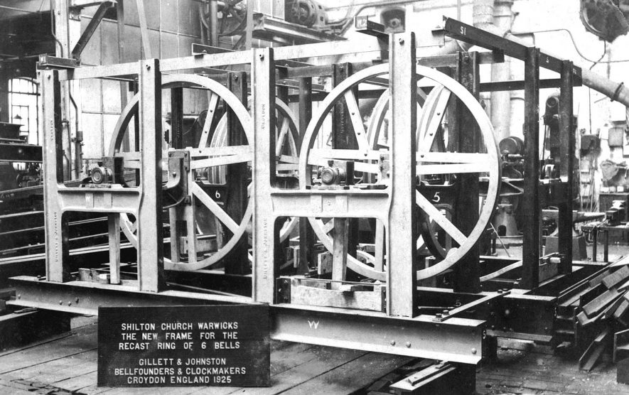 New bell frame for recast ring of  6 bells for Shilton Church in the workshop of Gillett & Johnston, Bellfounders and Clockmakers, Croydon.  1925 |  IMAGE LOCATION: (Warwickshire County Record Office)